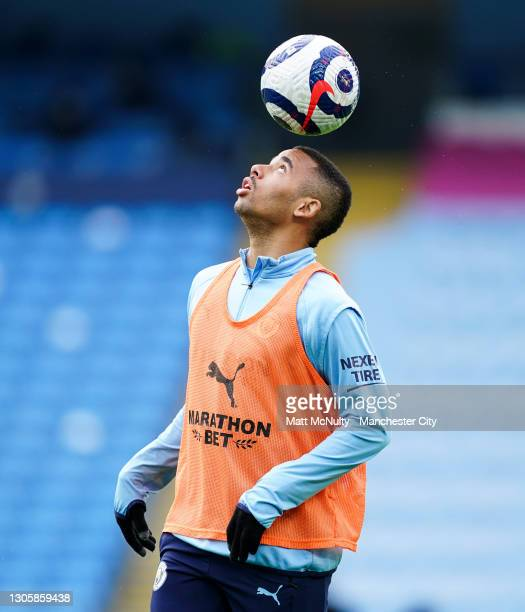 Gabriel Jesus of Manchester City warms up during the Premier League match between Manchester City and Manchester United at Etihad Stadium on March...