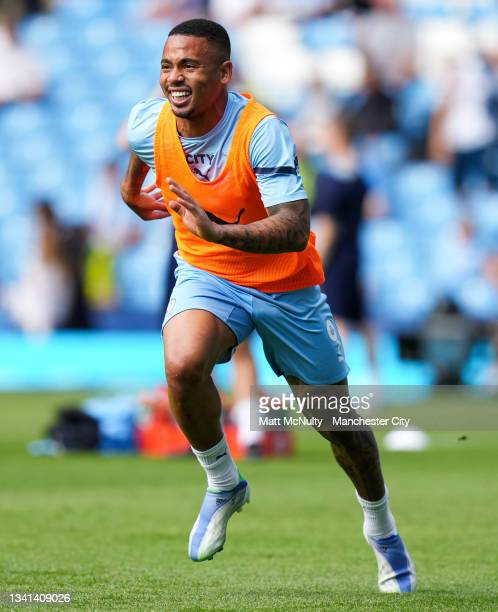 Gabriel Jesus of Manchester City warms up during the Premier League match between Manchester City and Southampton at Etihad Stadium on September 18,...