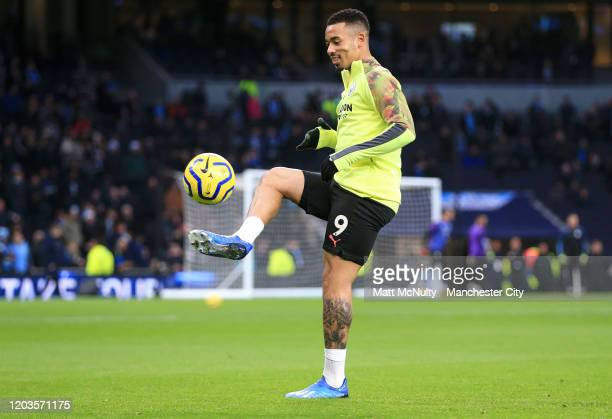 Gabriel Jesus of Manchester City warms up prior to the Premier League match between Tottenham Hotspur and Manchester City at Tottenham Hotspur...