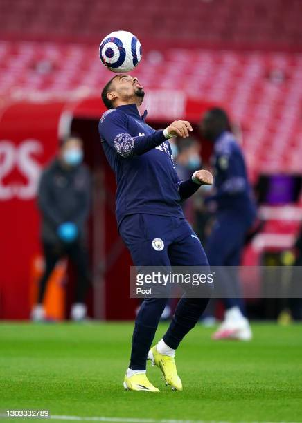 Gabriel Jesus of Manchester City warms up prior to the Premier League match between Arsenal and Manchester City at Emirates Stadium on February 21,...