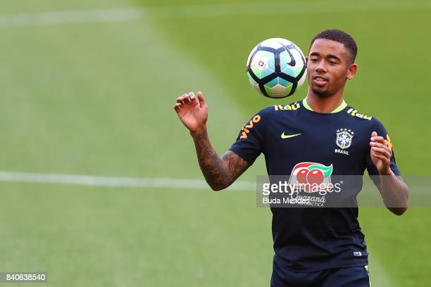 Gabriel Jesus takes part in a training session at the Beira Rio Stadium on August 29 2017 in Porto Alegre Brazil ahead of their 2018 FIFA World Cup...