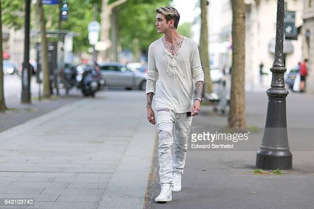 Gabriel Kane Day Lewis is seen, after the Balmain show, during Paris Fashion Week Menswear Spring/Summer 2017, on June 25, 2016 in Paris, France.