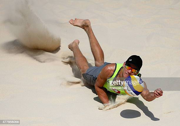 Gabriel Kissling of Switzerland dives for the ball in the Men's Beach Volleyball semi final against Russia during day nine of the Baku 2015 European...