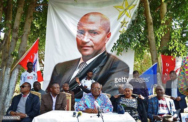 Gabriel Kyungu wa Kumwanza a former governer of Katanga province and political figure speaks during a press conference under an opposition...