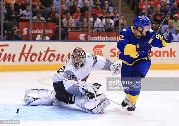 Gabriel Landeskog celebrates after Patrik Berglund of Team Sweden scores a third period goal John Gibson of Team North America during the World Cup...
