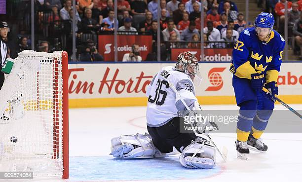 Gabriel Landeskog creates traffic in front of John Gibson of Team North America as Patrik Berglund of Team Sweden scores a third period goal during...