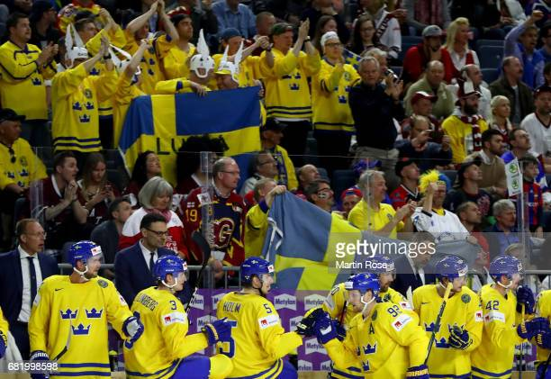 Gabriel Landeskog of Sweden celebrate with his team mates after he scores the opening goal during the 2017 IIHF Ice Hockey World Championship game...