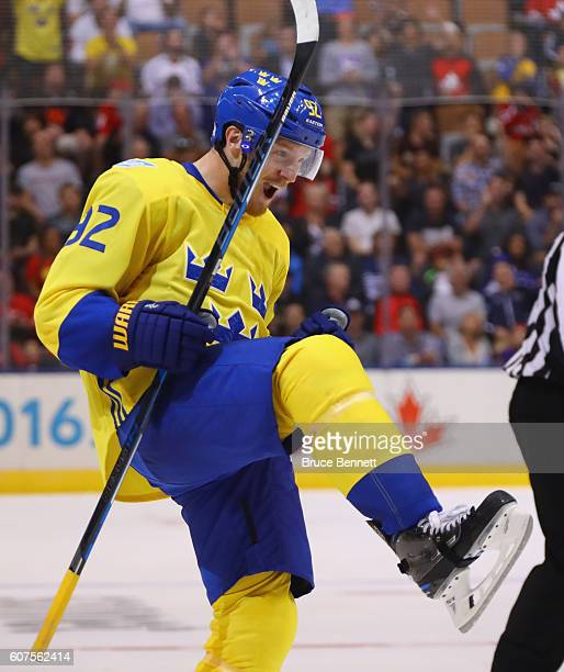 Gabriel Landeskog of Team Sweden celebrates his second period goal against Team Russia during the World Cup of Hockey 2016 at the Air Canada Centre...