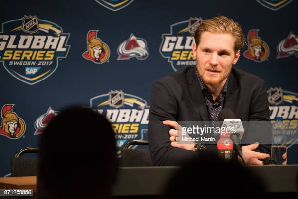 Gabriel Landeskog of the Colorado Avalanche answers questions at a press conference at the Ericsson Globe on November 7 2017 in Stockholm Sweden