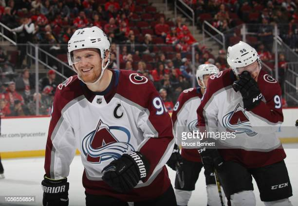 Gabriel Landeskog of the Colorado Avalanche celebrates his hat trick goal at 1638 of the third period against the New Jersey Devils at the Prudential...