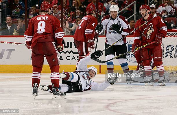 Gabriel Landeskog of the Colorado Avalanche celebrates on the ice after his third period goal against the Arizona Coyotes at Gila River Arena on...