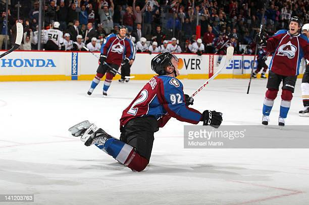 Gabriel Landeskog of the Colorado Avalanche celebrates the winning goal against the Anaheim Ducks at the Pepsi Center on March 12 2012 in Denver...