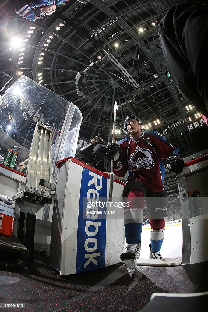 Gabriel Landeskog #92 of the Colorado Avalanche comes off the ice before the start of a game against the Columbus Blue Jackets at the Pepsi Center on January 24, 2013 in Denver, Colorado.