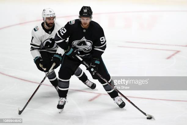 Gabriel Landeskog of the Colorado Avalanche controls the puck during the 2019 Honda NHL AllStar Game at SAP Center on January 26 2019 in San Jose...