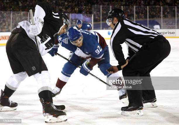 Gabriel Landeskog of the Colorado Avalanche faces off against Anze Kopitar of the Los Angeles Kings during the 2020 NHL Stadium Series game at Falcon...