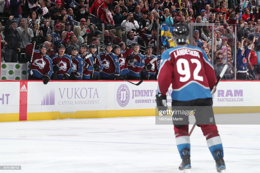 Gabriel Landeskog #92 of the Colorado Avalanche heads to his bench after scoring a goal during a penalty shot against the Washington Capitals at the Pepsi Center on November 16, 2017 in Denver, Colorado.