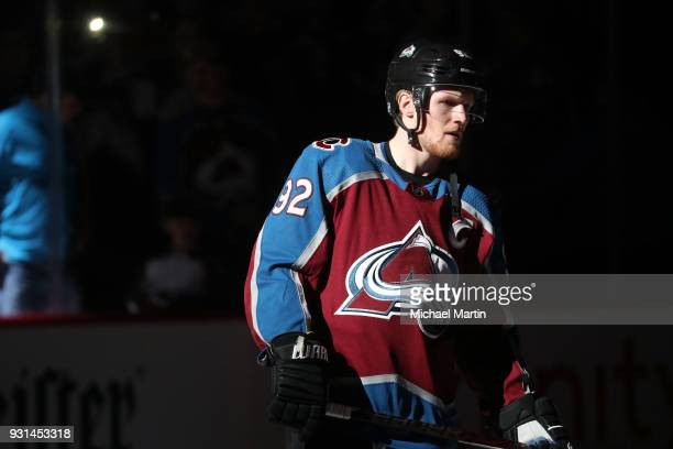 Gabriel Landeskog of the Colorado Avalanche is introduced prior to the game against the Arizona Coyotes at the Pepsi Center on March 10 2018 in...