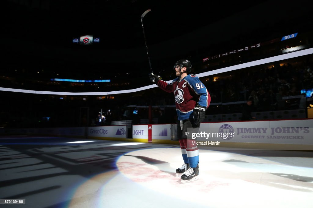 Gabriel Landeskog #92 of the Colorado Avalanche is named first star of the game after a hat trick against the Washington Capitals at the Pepsi Center on November 16, 2017 in Denver, Colorado. The Avalanche defeated the Capitals 6-2.