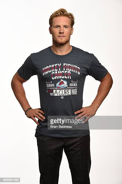 Gabriel Landeskog of the Colorado Avalanche poses for a portrait at the NHL Player Media Tour at the Ritz Carlton on September 8 2015 in Toronto...