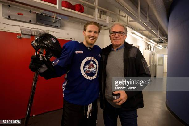 Gabriel Landeskog of the Colorado Avalanche poses with his father Tony at the Ericsson Globe on November 7 2017 in Stockholm Sweden