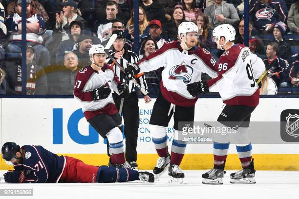 Gabriel Landeskog of the Colorado Avalanche reacts after scoring a goal during the third period of a game against the Columbus Blue Jackets on March...