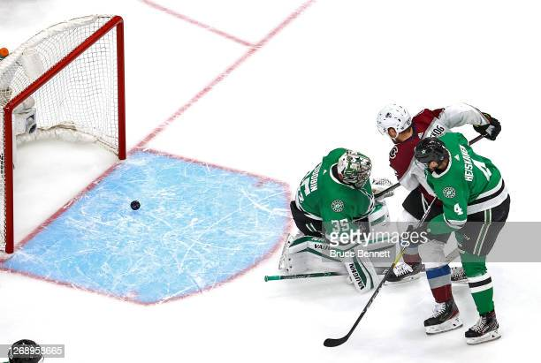 Gabriel Landeskog of the Colorado Avalanche scores a goal past Anton Khudobin of the Dallas Stars during the second period in Game Three of the...