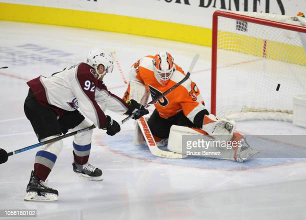 Gabriel Landeskog of the Colorado Avalanche scores at 225 of the third period against Brian Elliott of the Philadelphia Flyers at the Wells Fargo...