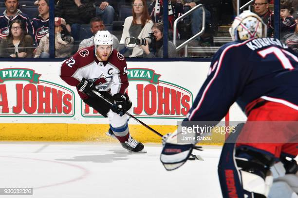 Gabriel Landeskog of the Colorado Avalanche skates against the Columbus Blue Jackets on March 8 2018 at Nationwide Arena in Columbus Ohio
