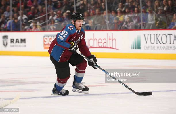 Gabriel Landeskog of the Colorado Avalanche skates against the Ottawa Senators at the Pepsi Center on March 11 2017 in Denver Colorado The Senators...