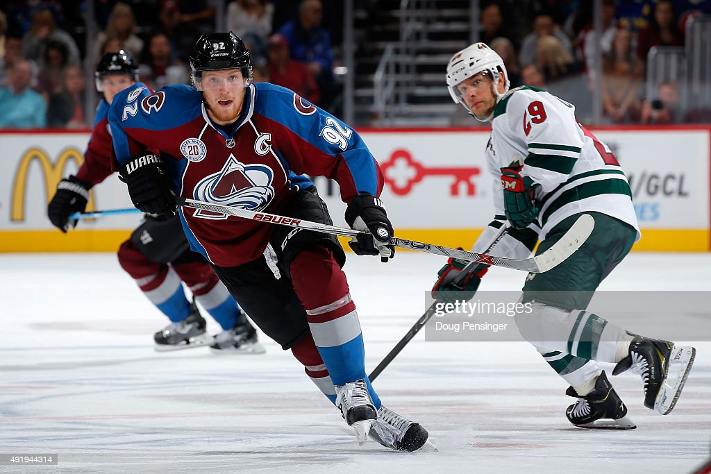 Gabriel Landeskog #92 of the Colorado Avalanche skates against the Minnesota Wild at Pepsi Center on October 8, 2015 in Denver, Colorado. The Wild defeated the Avalanche 5-4.