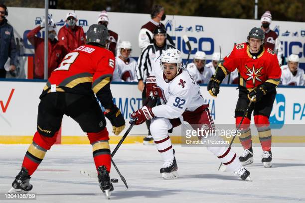 Gabriel Landeskog of the Colorado Avalanche skates with the puck against the Vegas Golden Knights during the 'NHL Outdoors At Lake Tahoe' at the...