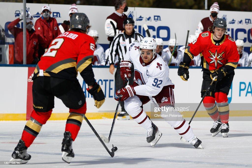 NHL Outdoors At Lake Tahoe - Vegas Golden Knights v Colorado Avalanche : News Photo