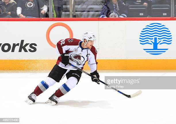 Gabriel Landeskog of the Colorado Avalanche takes part in the pregame warm up prior to NHL action against the Winnipeg Jets at the MTS Centre on...