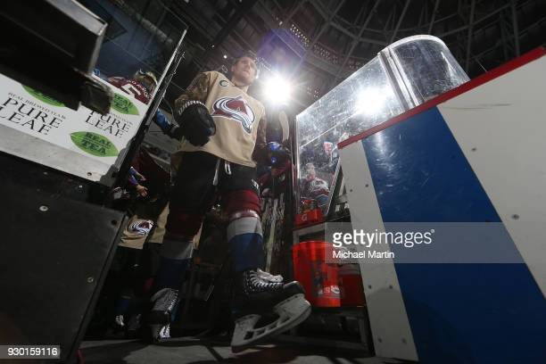 Gabriel Landeskog of the Colorado Avalanche takes to the ice in a special warm up jersey for Military Appreciation Day prior to the game against the...