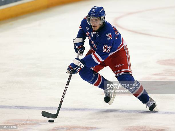 Gabriel Landeskog of the Kitchener rangers skates with the puck in Game 6 of the Western Conference Final against the Windsor Spitfires on April 23...