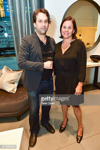 Gabriel Levy and Amanda Smith attend 'Inson Dubois Wood Interiors' Rizzoli Book Party at Holly Hunt New York Showroom on October 6 2016 in New York...