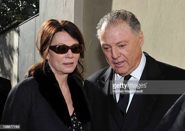Gabriel Levy and Iris Berben attend the memorial service for Bernd Eichinger at the St Michael Kirche on February 07 2011 in Munich Germany Producer...