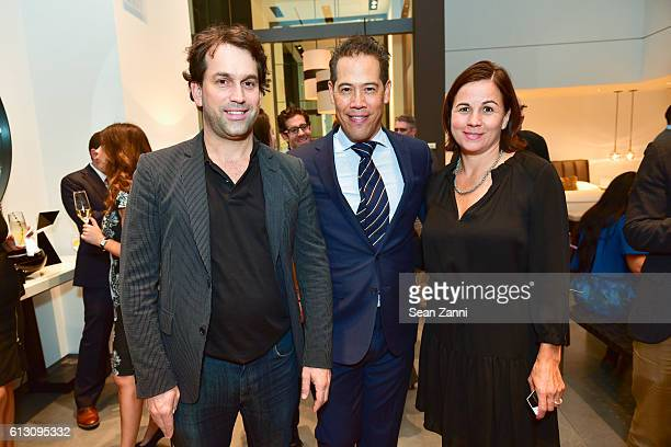 Gabriel Levy Inson Dubois Wood and Amanda Smith attend 'Inson Dubois Wood Interiors' Rizzoli Book Party at Holly Hunt New York Showroom on October 6...