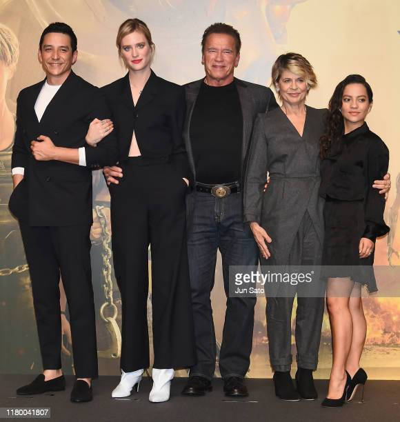 Gabriel Luna Mackenzie Davis Arnold Schwarzenegger Linda Hamilton and Natalia Reyes attend the press conference for the Japan premiere of 'Terminator...