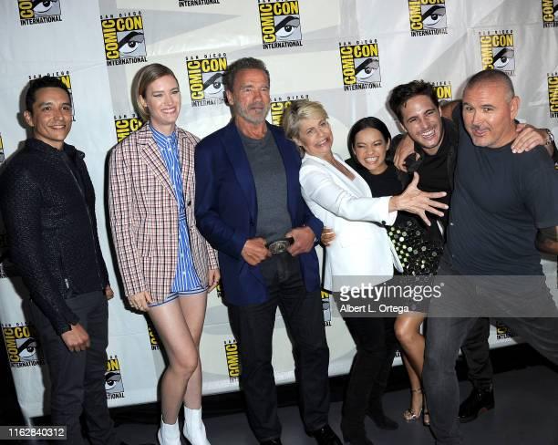 Gabriel Luna Mackenzie Davis Arnold Schwarzenegger Linda Hamilton Natalia Reyes Diego Boneta and Tim Miller attend the Terminator Dark Fate panel...