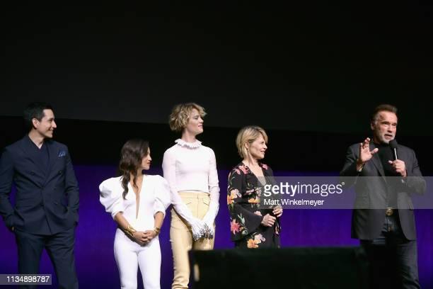 Gabriel Luna Natalia Reyes Mackenzie Davis Linda Hamilton and Arnold Schwarzenegger speak onstage at CinemaCon 2019 Paramount Pictures Invites You to...
