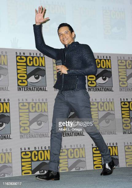 Gabriel Luna speaks at the Terminator Dark Fate panel during 2019 ComicCon International at San Diego Convention Center on July 18 2019 in San Diego...