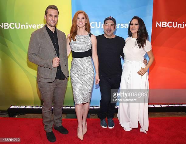 Gabriel Macht Sarah Rafferty Rick Hoffman and Meghan Markle attend the NBC's 2015 New York Summer Press Day at Four Seasons Hotel New York on June 24...