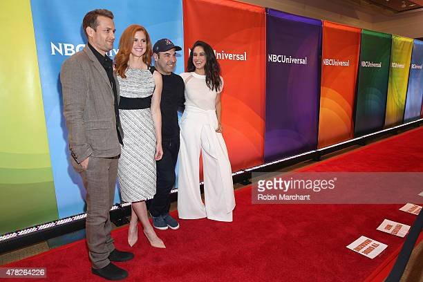 Gabriel Macht Sarah Rafferty Rick Hoffman and Meghan Markle attend the NBC's 2015 New York Summer Press Day at Four Seasons Hotel New York on June 24...