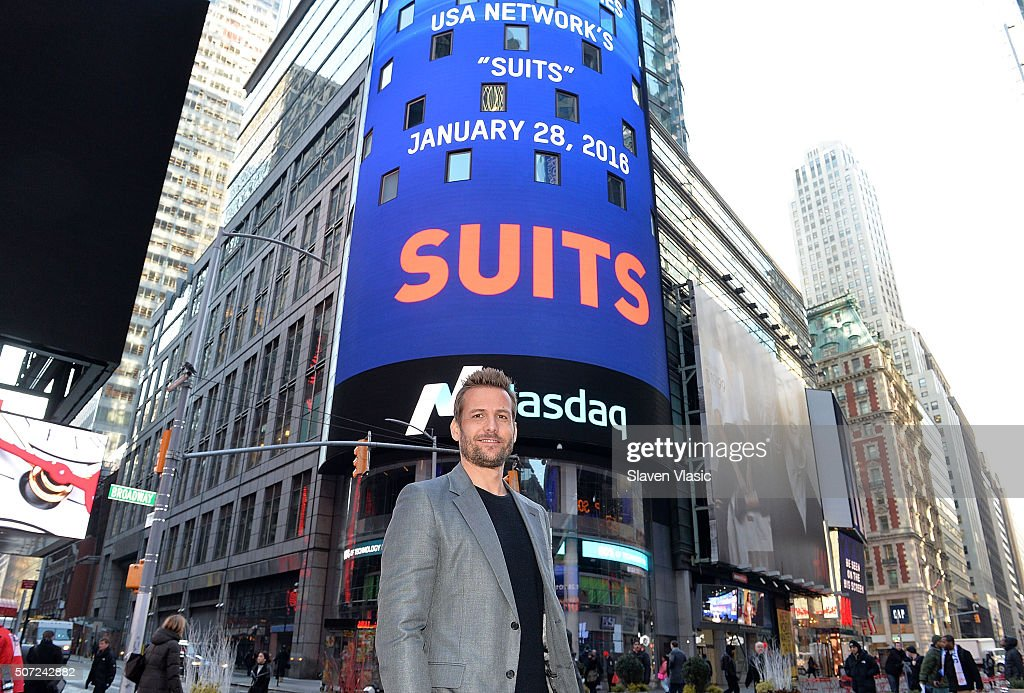 Gabriel Macht, star of 'Suits' visits the Opening Bell at NASDAQ MarketSite on January 28, 2016 in New York City.