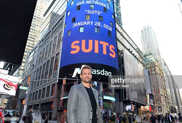 Gabriel Macht star of 'Suits' visits the Opening Bell at NASDAQ MarketSite on January 28 2016 in New York City