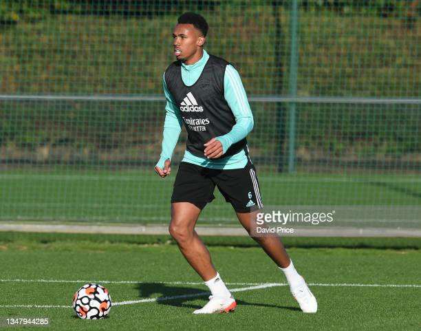 Gabriel Magalhaes of Arsenal during the Arsenal 1st team training session at London Colney on October 21, 2021 in St Albans, England.