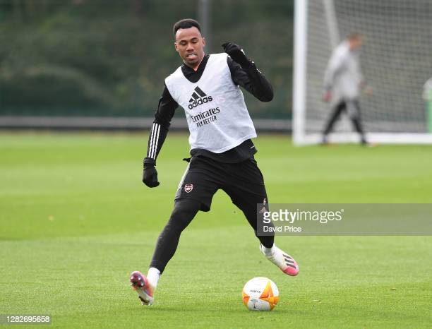 Gabriel Magalhaes of Arsenal during the Arsenal training session ahead of the UEFA Europa League Group B stage match between Arsenal FC and Dundalk...