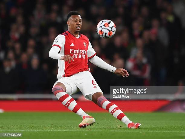 Gabriel Magalhaes of Arsenal during the Premier League match between Arsenal and Crystal Palace at Emirates Stadium on October 18, 2021 in London,...
