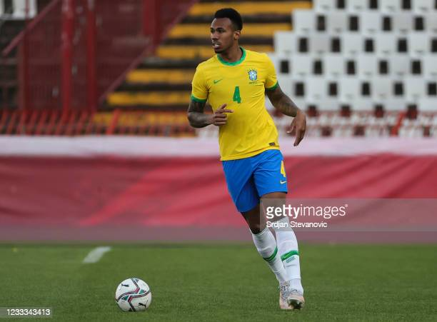Gabriel Magalhaes of Brazil in action during the International football friendly match between Serbia U21 and Brazil U23 at stadium Rajko Mitic on...